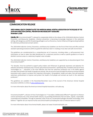 Virox Animal Health Communication Release - AAHA Guideline Launch-111184-edited
